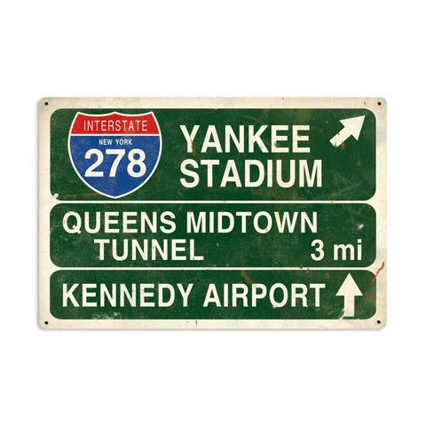 Yankee Stadium Highway Sign Metal Sign