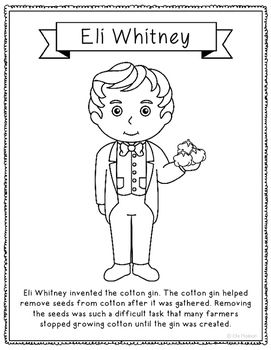 Eli Whitney Coloring Page Craft or Poster, STEM Technology ...
