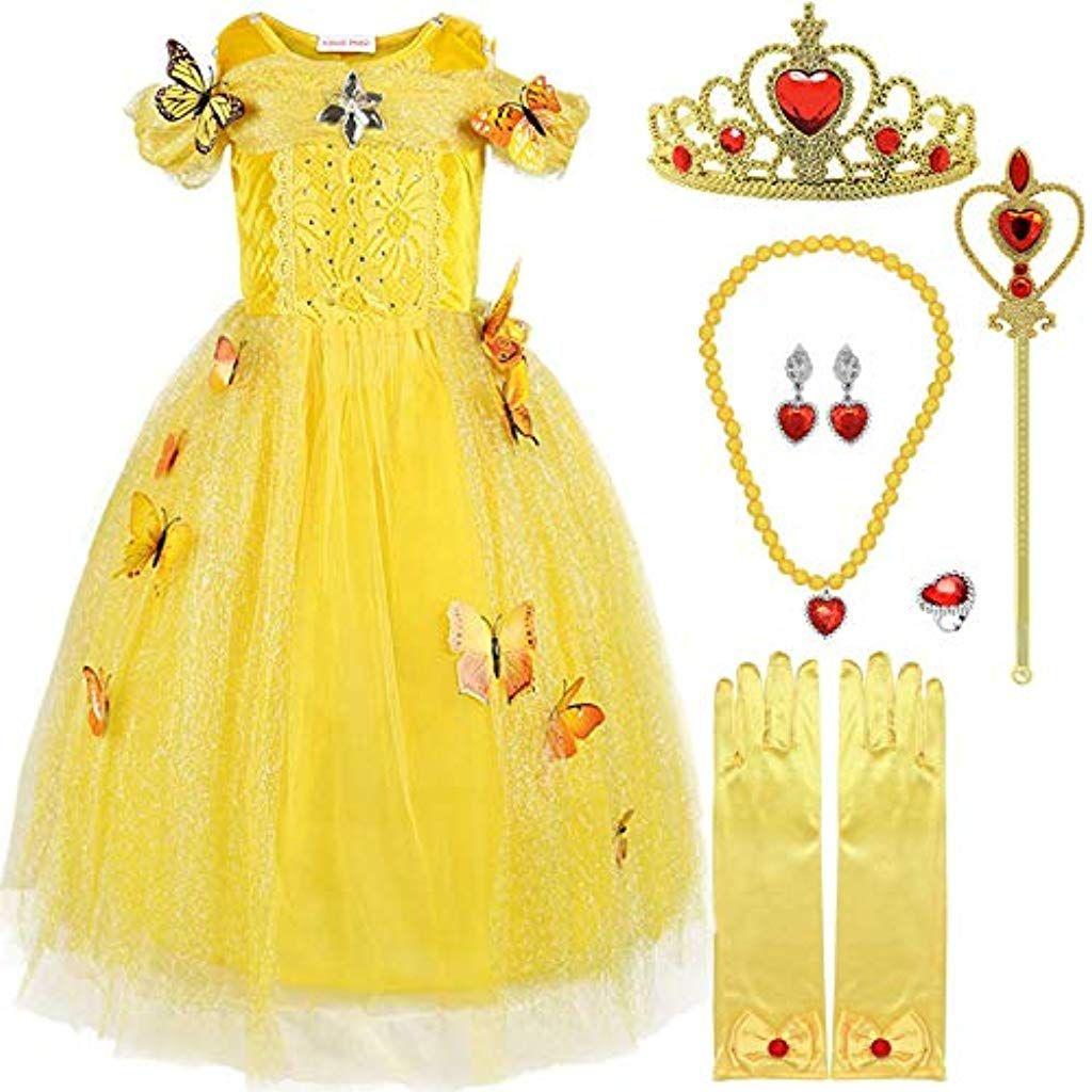 GIALLO Per Bambini Principessa Costume Outfit Belle Costume Bambini Bambino Vestito S