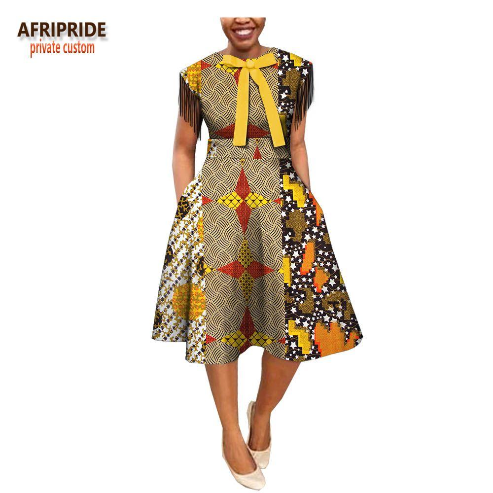 d138ac0a808 2018 summer A line dress for women AFRIPRIDE short tassel sleeve knee length  casual women wax dress with bow decoration A1825050 on Aliexpress.com
