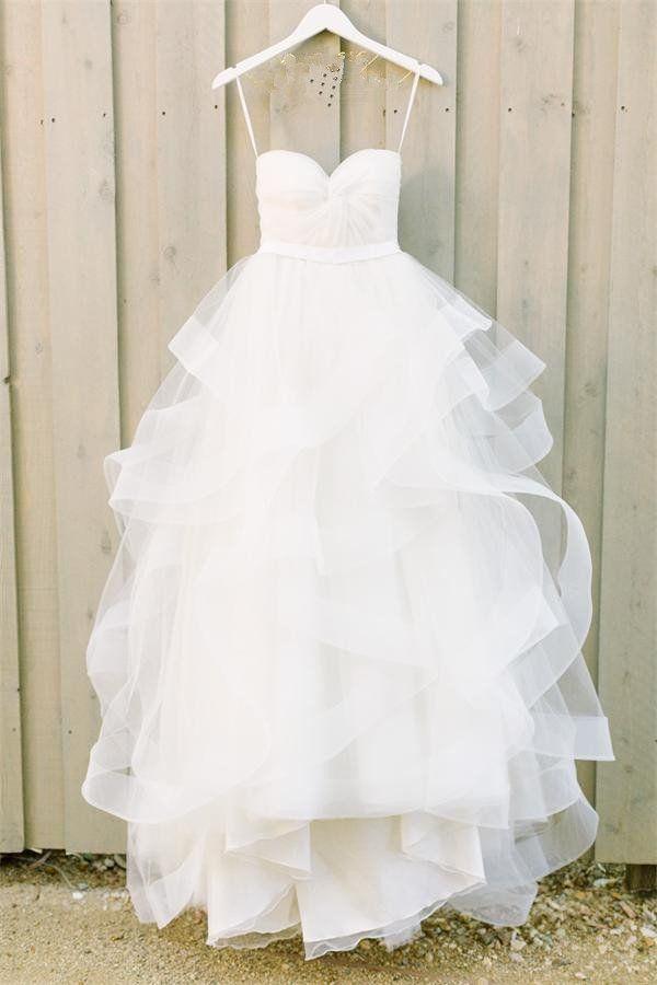 f7bb07d4fd9c Simple Strapless White Tulle Long Princess Wedding Dress – Okdresses