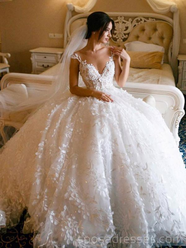 Lace Straps Ball Gown V Neck Long Wedding Dresses Online Cheap