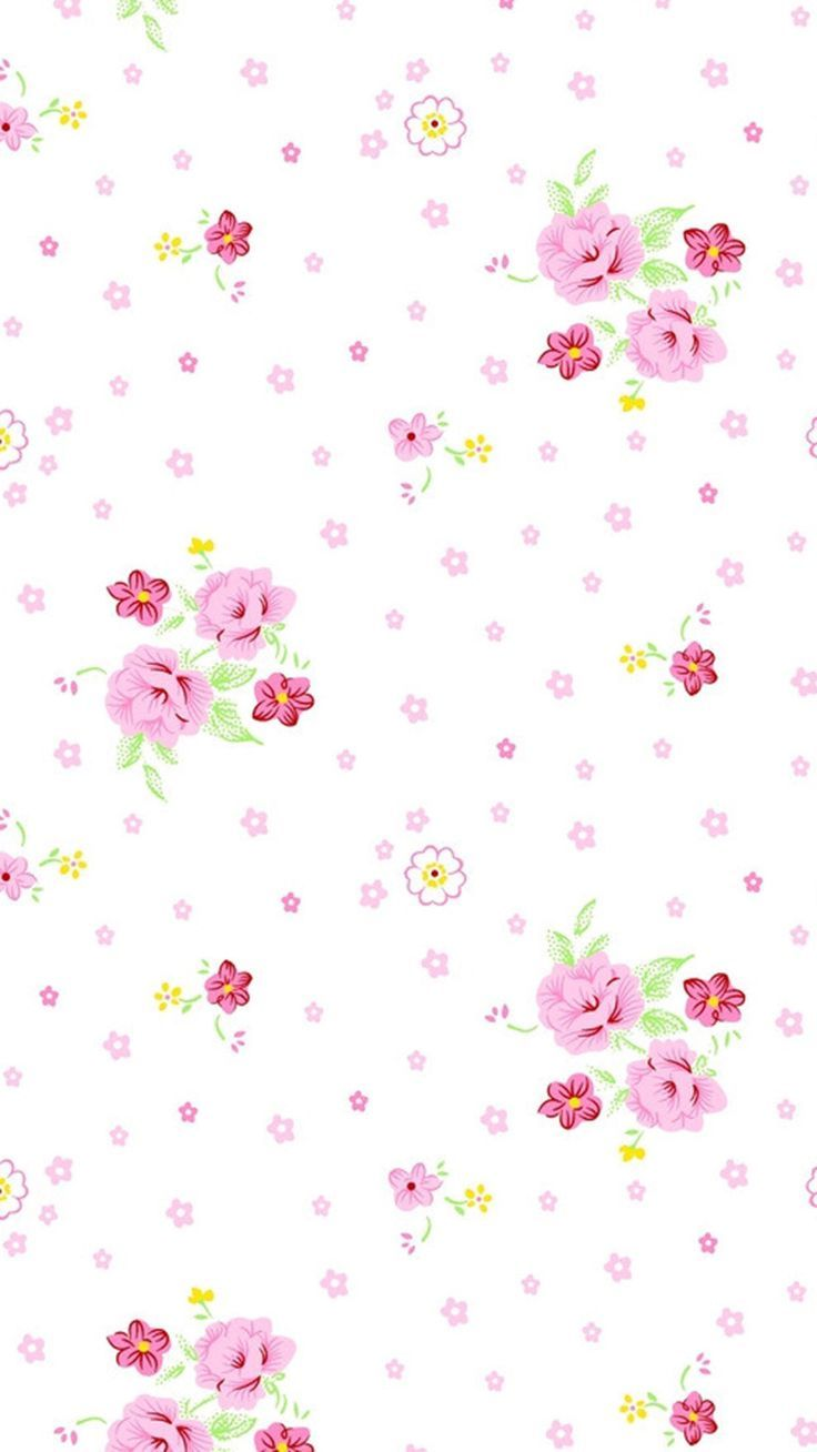 Pink White Yellow Mini Vintage Floral Iphone Phone Wallpaper