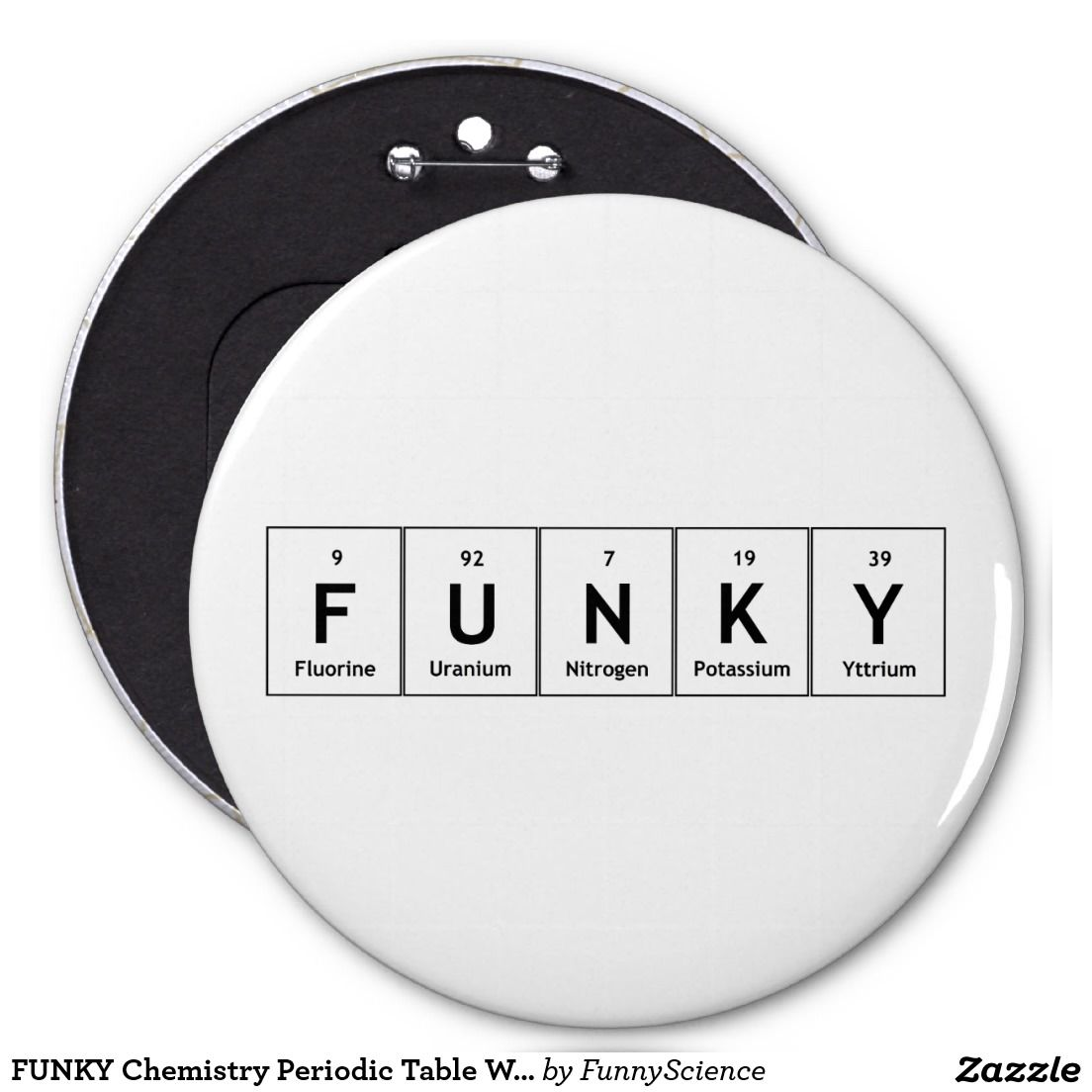 Funky Chemistry Periodic Table Words Elements Atom  Inch Round
