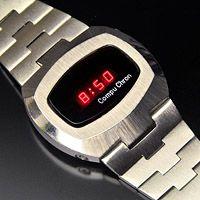"""1977 CompuChron """"Hughes"""" LED digital watch."""