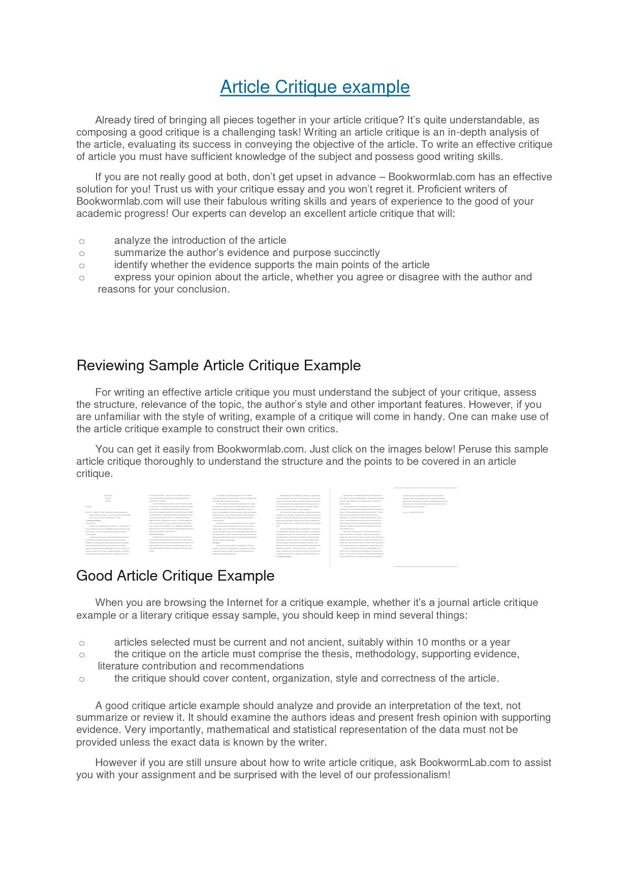 Article Critique Apa Format Example