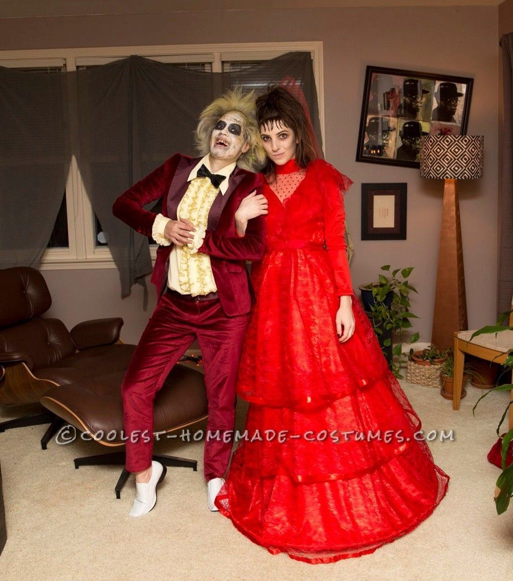 Lady Couple Beetlejuice And Lydia Homemade Costumes Couple Halloween Couples Costumes Beetlejuice Halloween