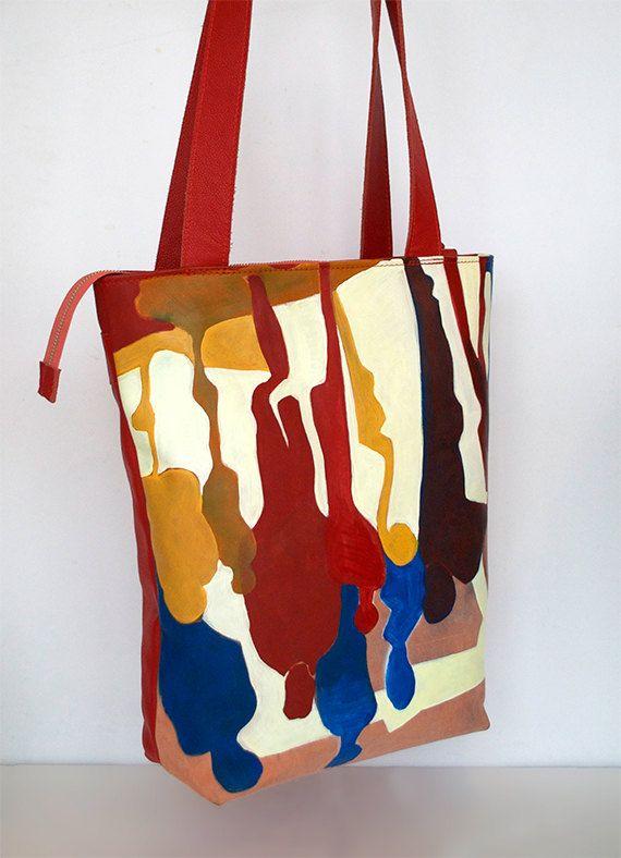 Handbeschilderde shopper van NotYourAverageObject op Etsy