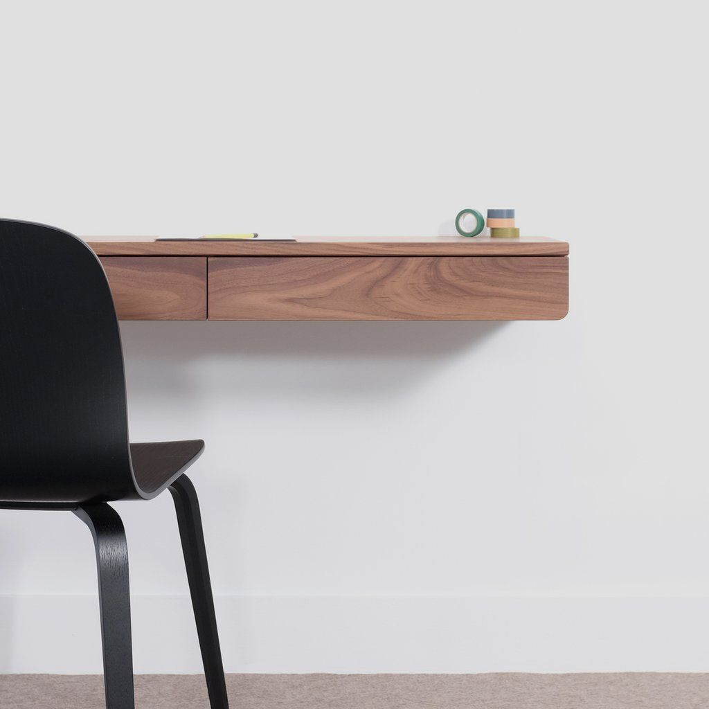 A Modern Floating Desk Made Entirely From Solid Wood Featuring Two Drawers Available In Walnut Oak And Black Floating Desk Floating Cabinets Desk