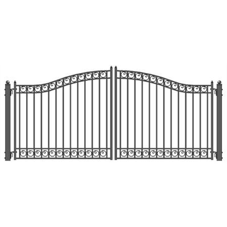 Aleko Dg14dubd Steel Dual Swing Driveway Gate Dublin Style 14 X 6 Feet Walmart Com Driveway Gate Front Gate Design Steel Gate