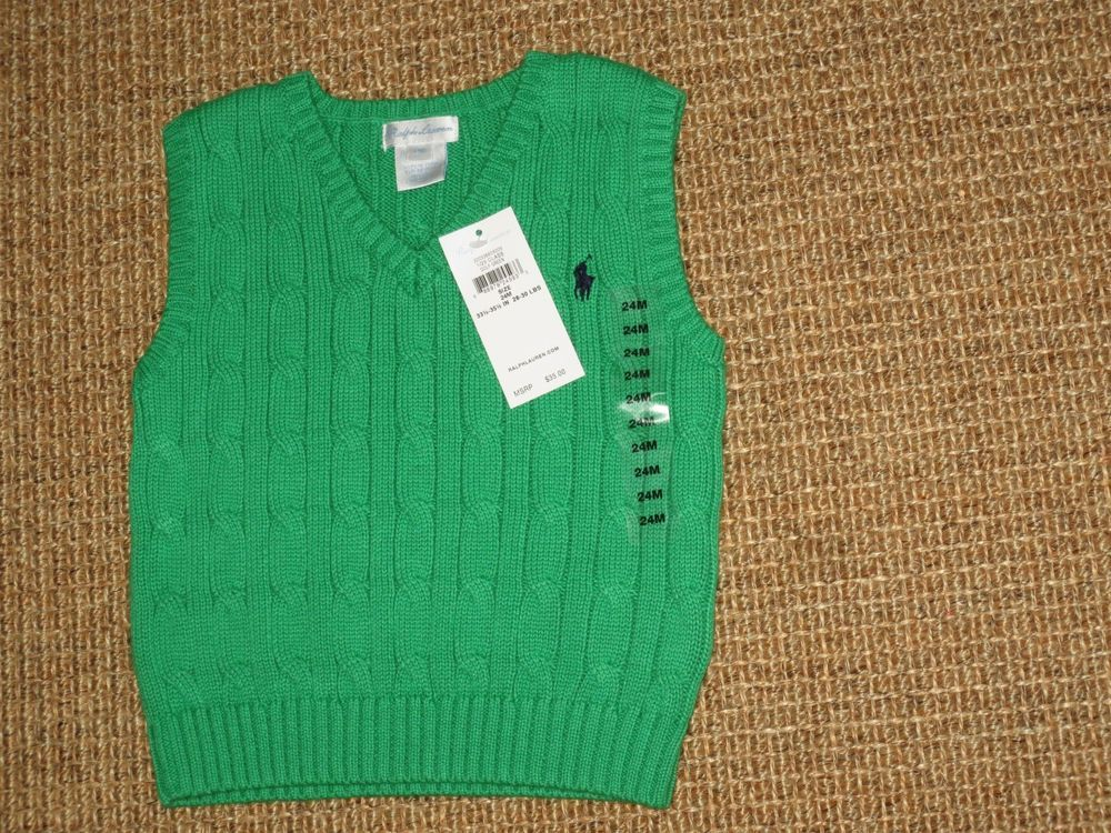 POLO RALPH LAUREN BABY BOY 24 MONTHS SWEATER VEST KELLY GREEN NEW ...