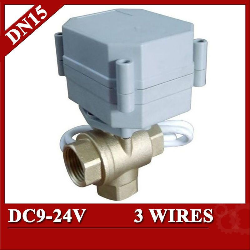 1 2 Mini Electric Valve 3 Way T Type Dc9 24v Motorized Valve 3 Wires Cr3 02 Dn15 Electric Ball Valve For Air Cond Electricity Electric Motor Water Heating