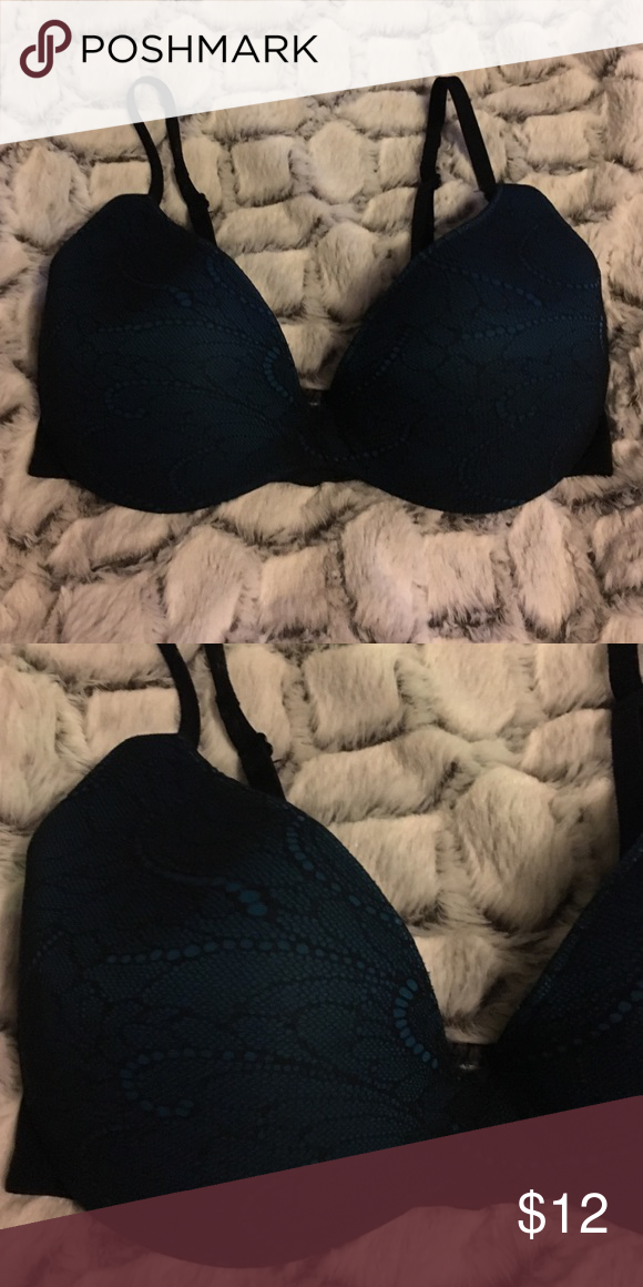 141e346669465 Warners lace push up bra Black and teal color. Excellent condition Warners  Intimates   Sleepwear Bras
