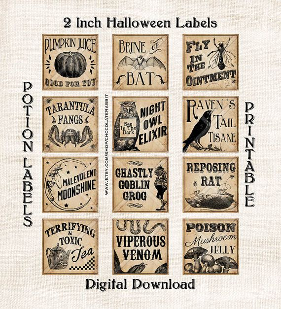 Vintage Potion Labels Halloween Witch Digital Download Printable Collage Sheet Tag Clip Art Diy Scrapbook Halloween Apothecary Labels Halloween Labels Halloween Potions