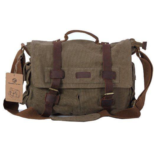 84e7f3a6b4 Amazon.com  S.C.COTTON Large Durable Vintage(classic) Canvas Messenger  Travel Bag School Bag with Leather Strips for Men Women