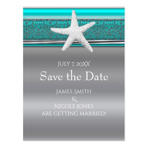 Aqua Silver Starfish Beach Save the Date Postcard Elegant