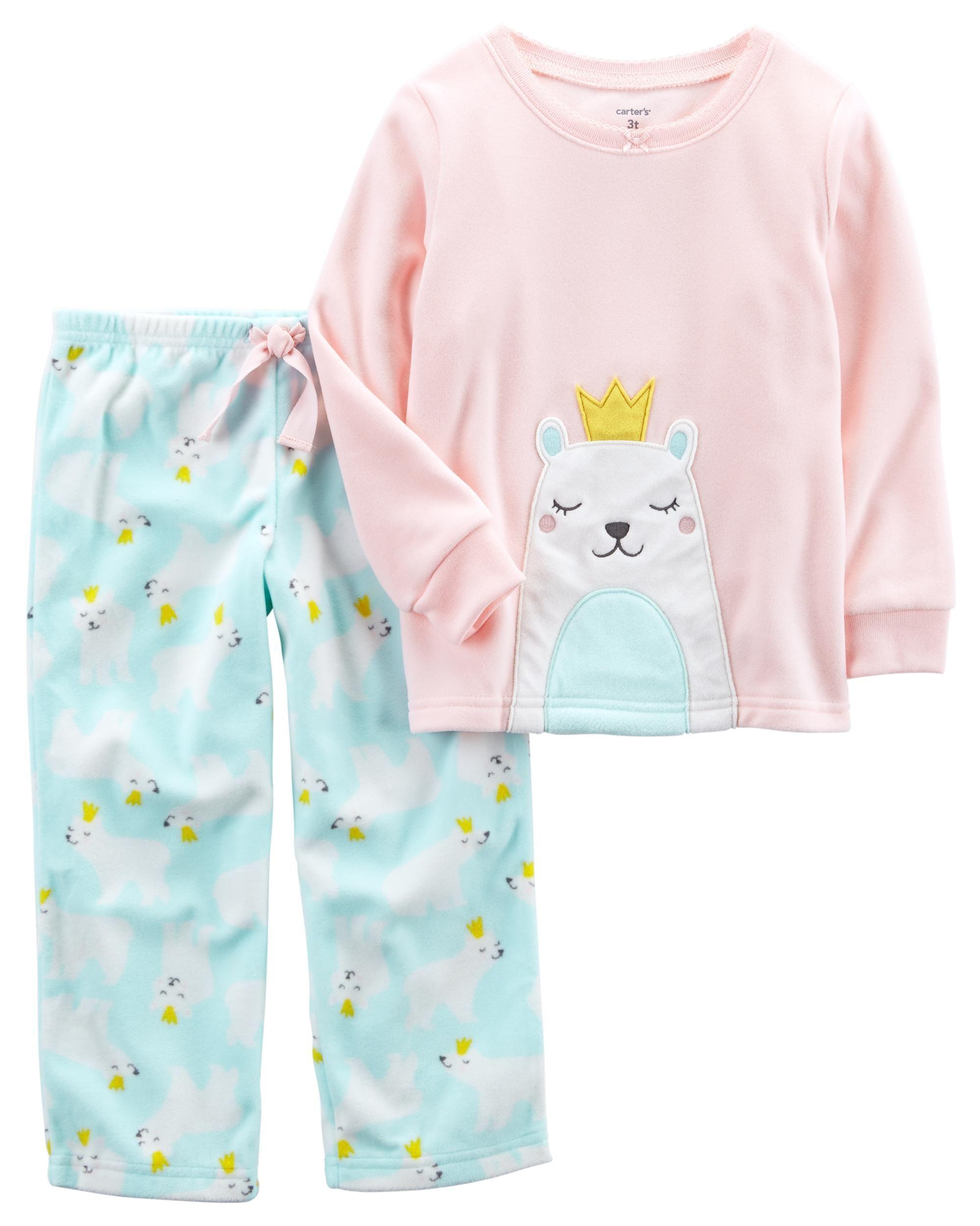 dae856fc1 Baby Girl 2-Piece Polar Bear Fleece PJs