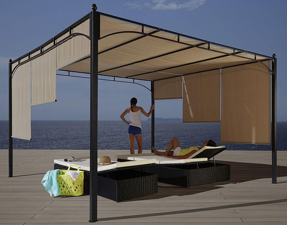 Pavillon »flachdachpergola 3 5 x 3 5 m« farbe sand pavillon und