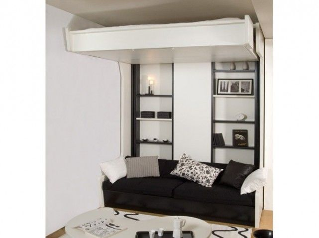 lit mezzanine escamotable au plafond pour gagner de la. Black Bedroom Furniture Sets. Home Design Ideas