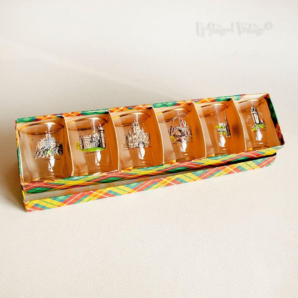 Vintage Retro 1960s Scottish Landmark Shot Glasses in Tartan Box by UpStagedVintage on Etsy