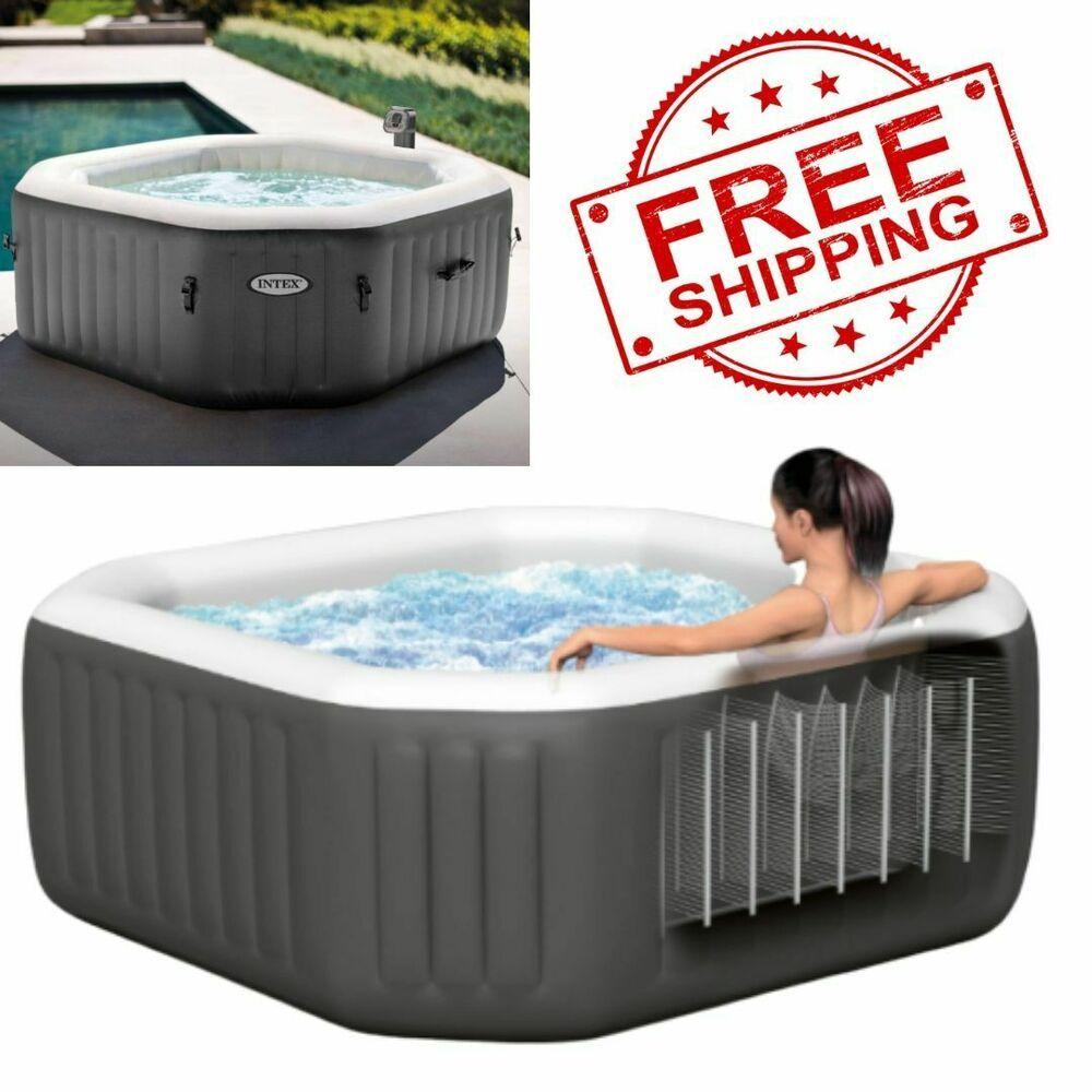Intex 4 Person Octagonal Garden Portable Inflatable Hot Tub Spa