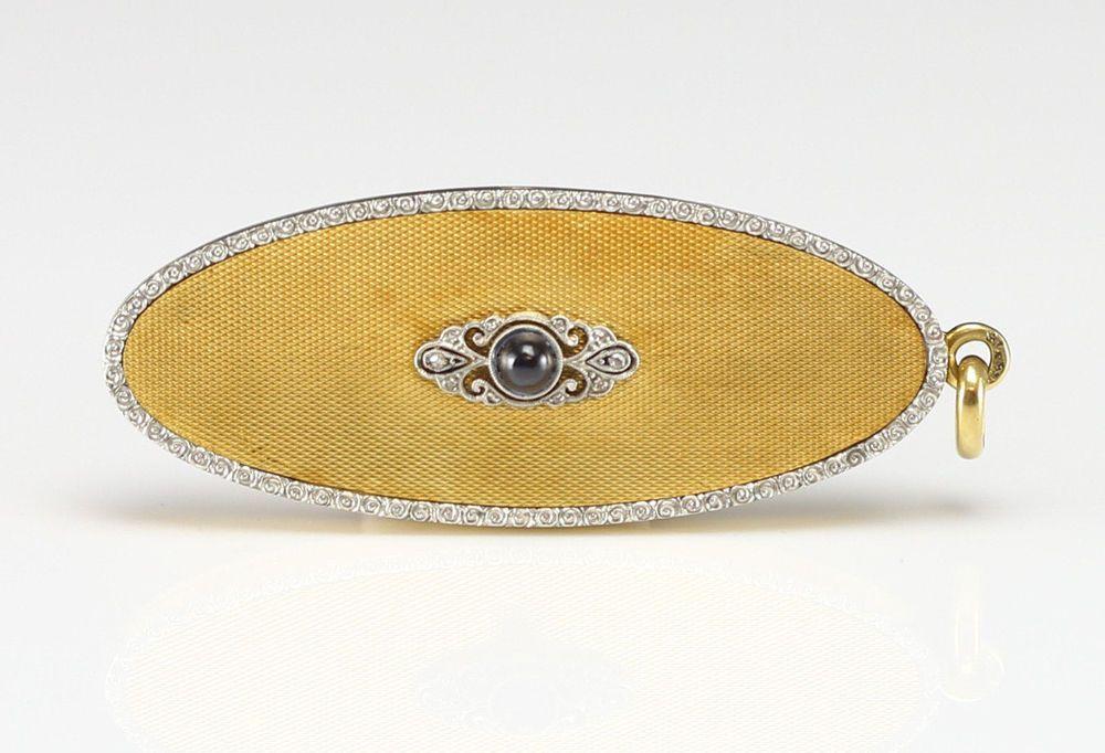 18k Yellow & White Gold trim Locket Sapphire cabochon w/ 10 small Diamonds c1920 #Locket