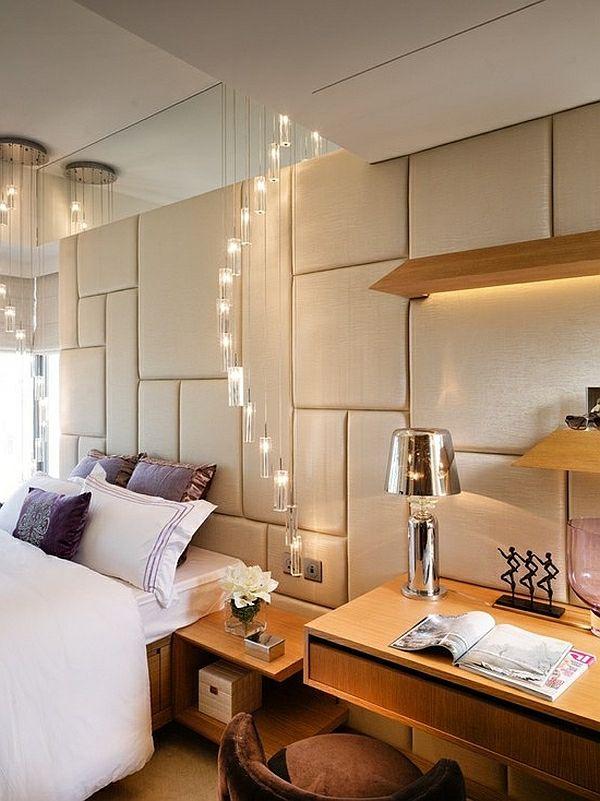 Leder Wand Bett Schlafzimmer Lichter Schreibtisch