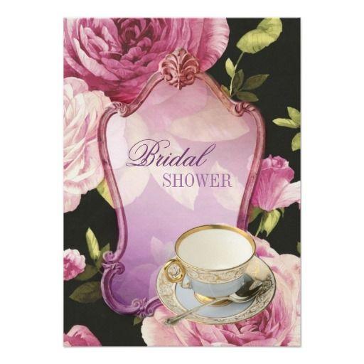 purple rose Bridal Shower Tea Party Invitation