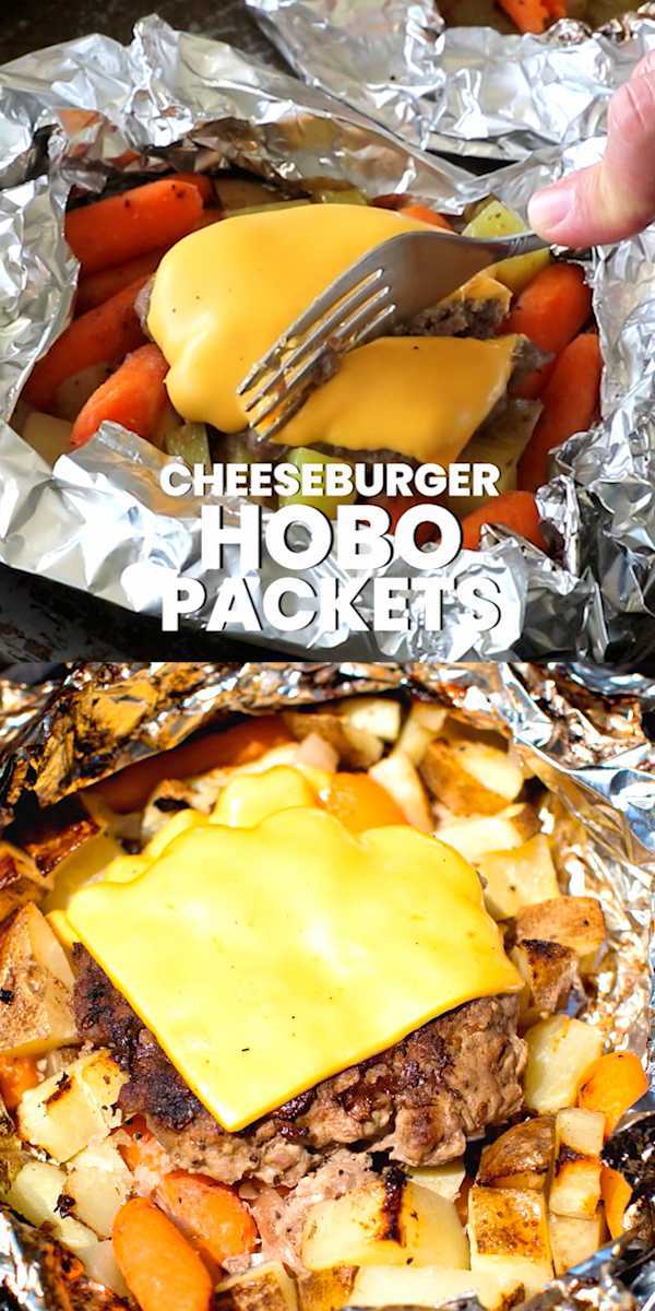 Cheeseburger Hobo Packets are quick and easy meal in a foil packet They are filled with potatoes carrots and a homemade cheeseburger You can make them over the campfire i...