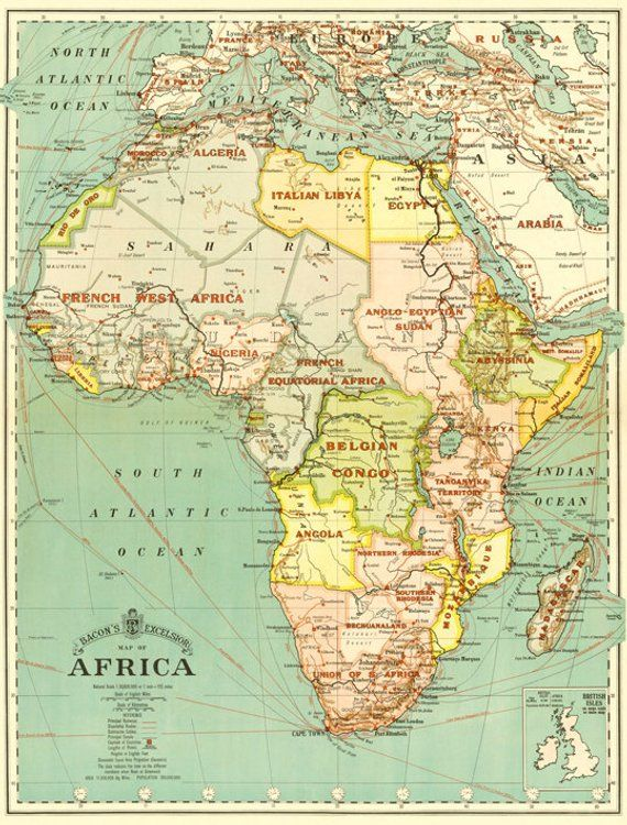 Africa digital map print. Antique Africa printable map ...