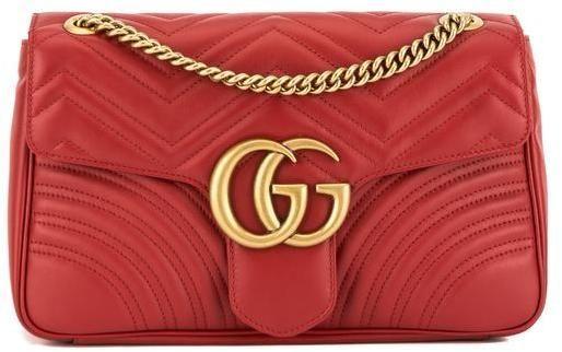 c2820f44e4e Gucci Hibiscus Red Leather GG Marmont Medium Matelasse Shoulder Bag ...