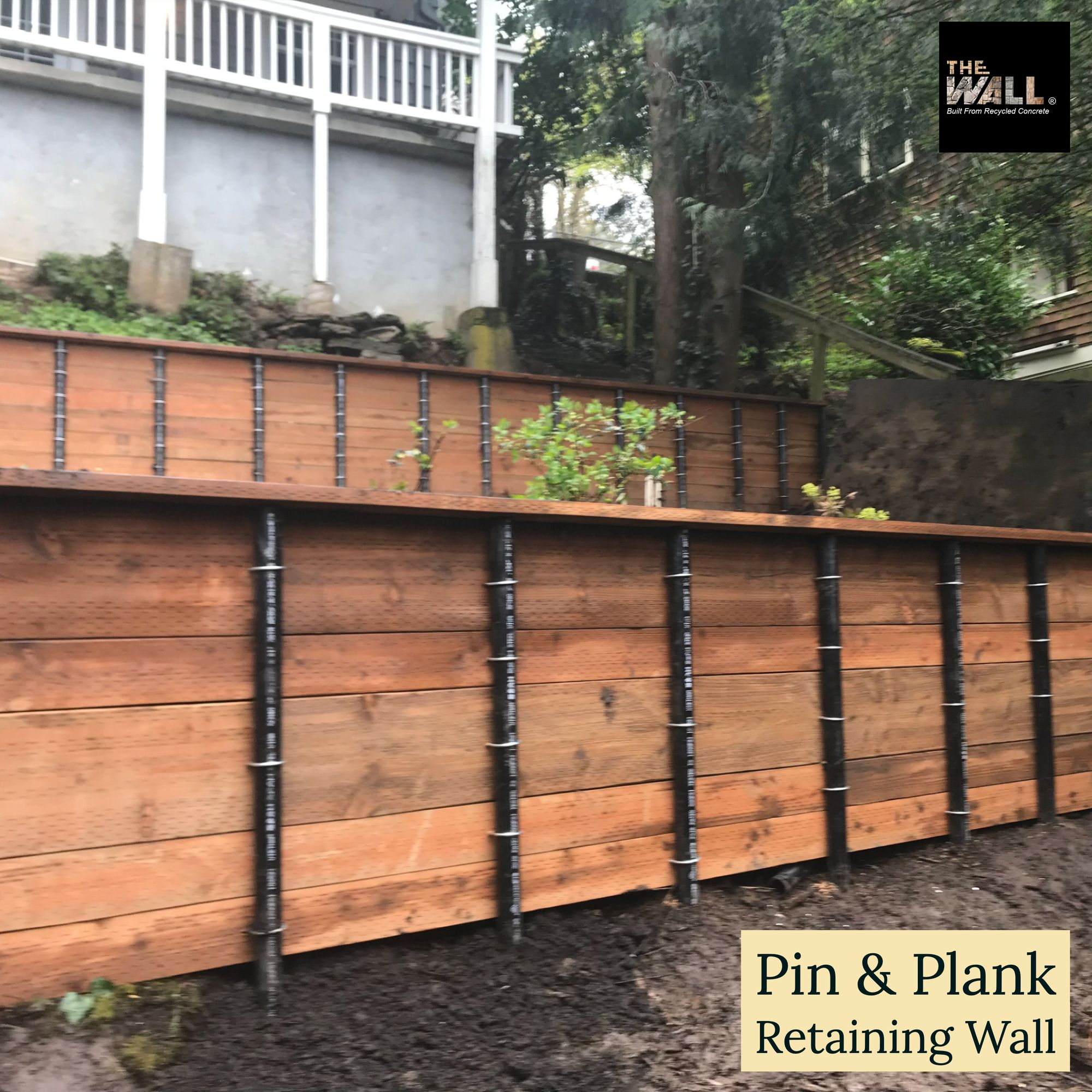 Pin Plank Retaining Wall Landscape Garden Landscaping Outdoorliving Landscapedesign Design Retaining Wall Concrete Retaining Walls Recycled Concrete