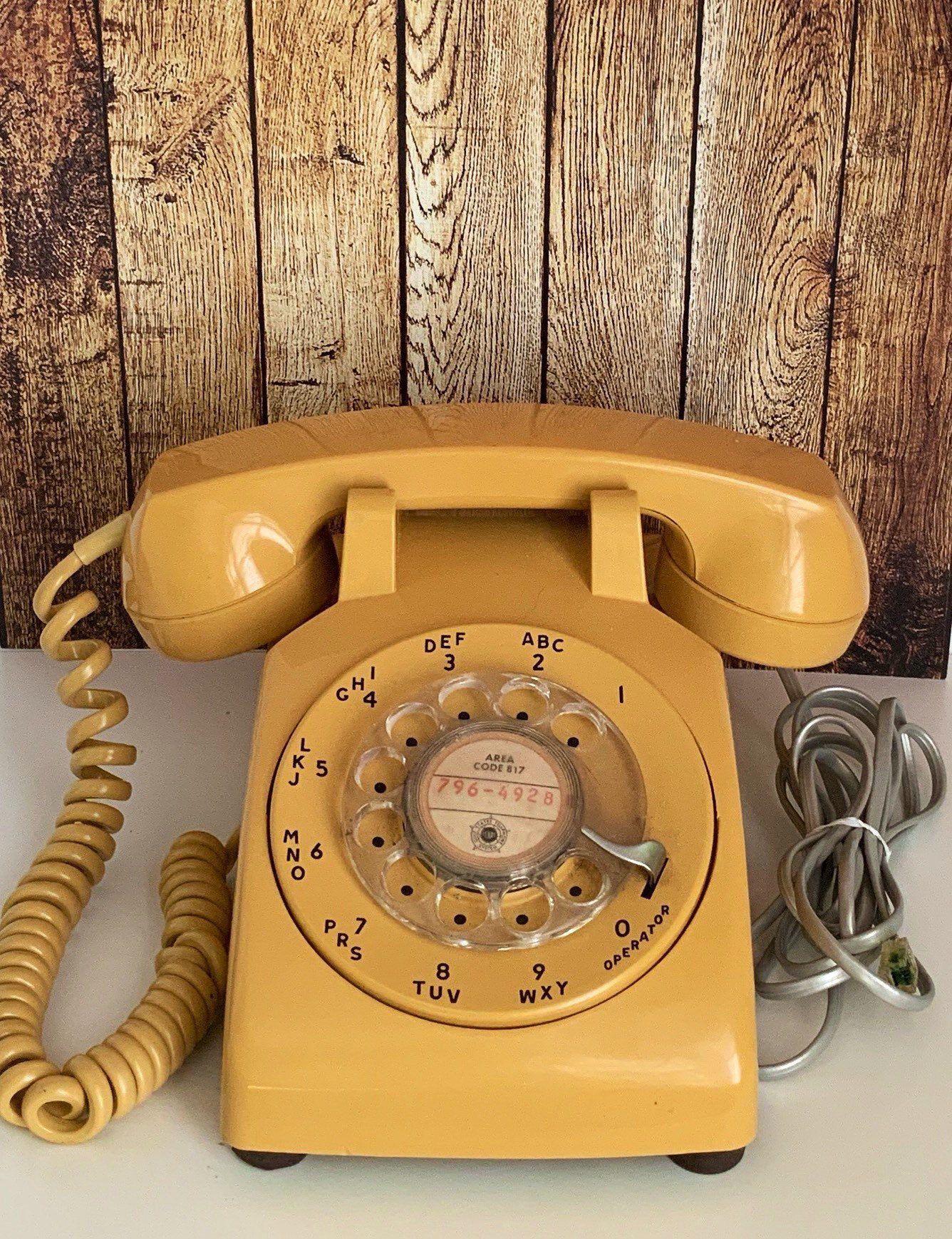 Photo of Vintage 1970's Yellow Rotary Phone Stromberg Carlson Mid – Blog