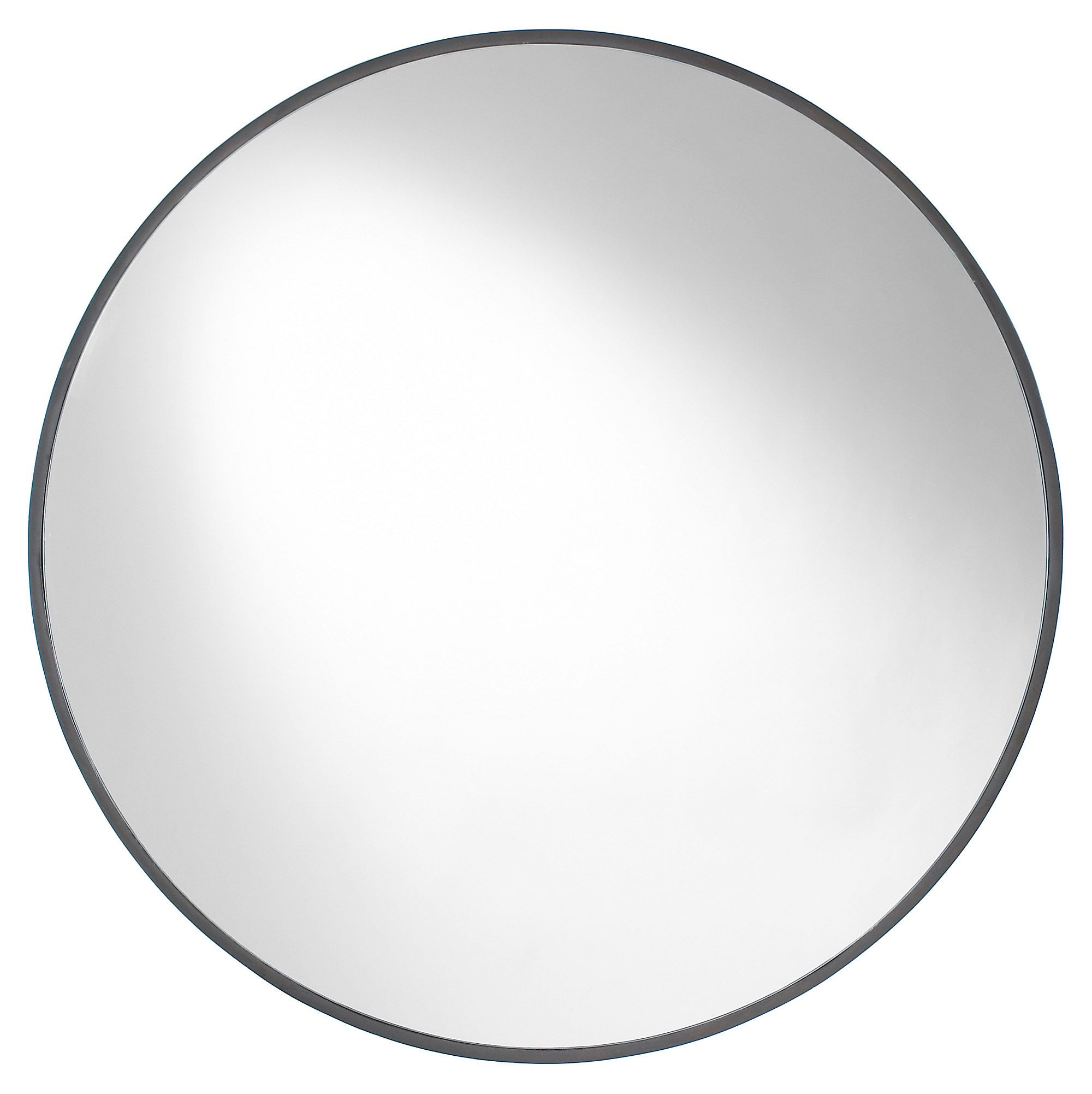 Amazing 30 Inch Round Mirror Part - 1: A Slim Frame Of Mocha-brown Birch Encircles This Round Mirror For A Subtleu2026