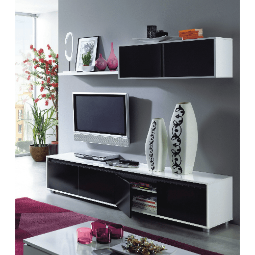 Black and White Gloss TV Set Wall Cabinet