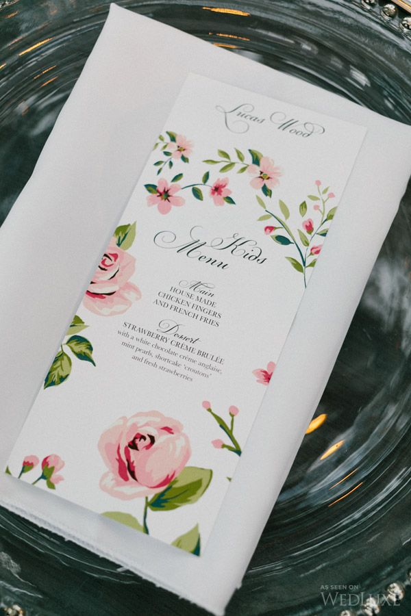 Sweet and simple pink floral print wedding menu wedluxe pretty wedluxe pretty art gallery wedding in ottawa stopboris Choice Image
