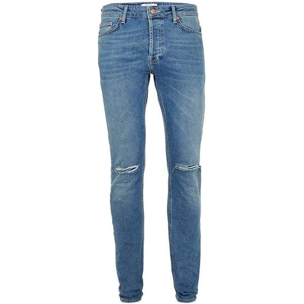 TOPMAN Blue Vintage Wash Ripped Stretch Skinny Jeans ($57 ...