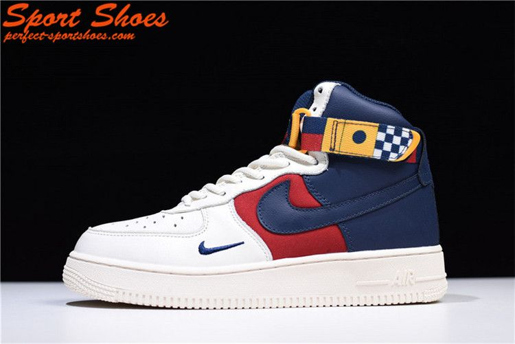Latest Nike Air Force 1 High Tops Mens Shoes Navy Red White Ar5395