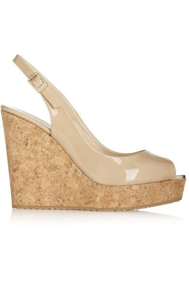 a6fe8debf10 Jimmy Choo - Prova Patent-leather Wedge Sandals - Neutral - IT35.5 ...