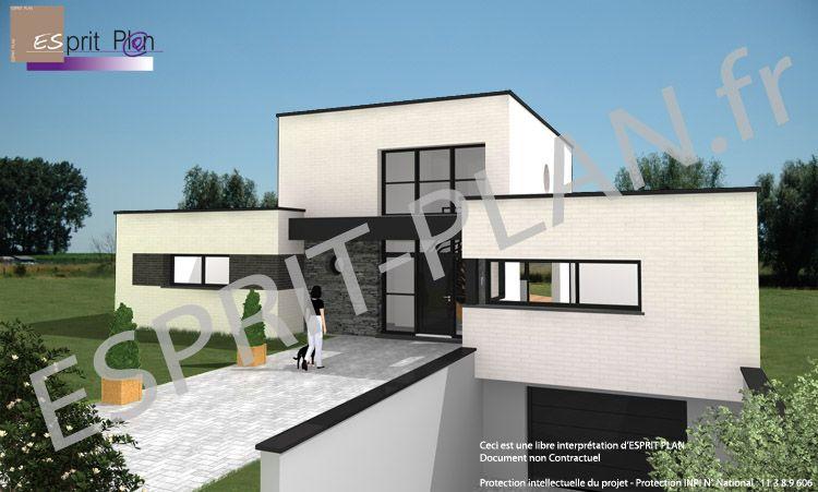 plan maison contemporaine sur sous-sol