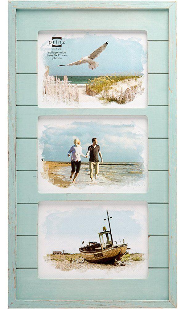 Prinz 3 Opening Seaside Wood Plank Collage Frame, 5 x 7\