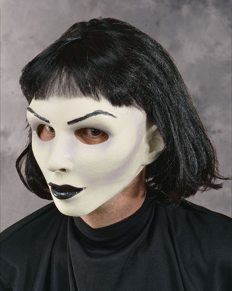 Halloween 2020 Young Actresses Goth Mask Woman Pretty White Skin Black Hair Makeup Halloween