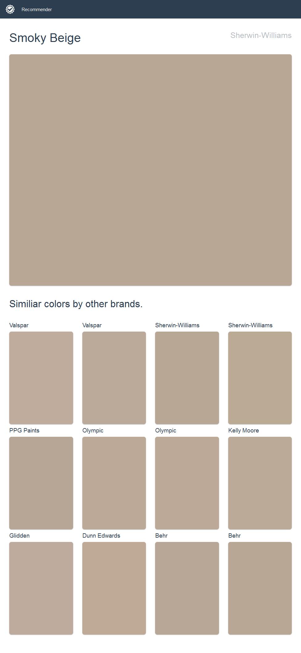 Glidden Smoky Charcoal smoky beige, sherwin-williams.   dunn edwards paint, dutch