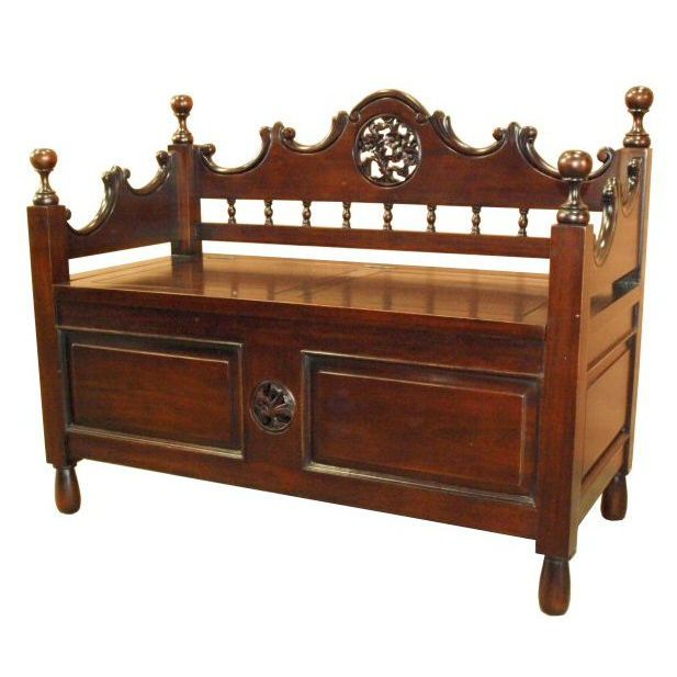 93d819379da Mahogany monk s bench with storage under lift up lid.
