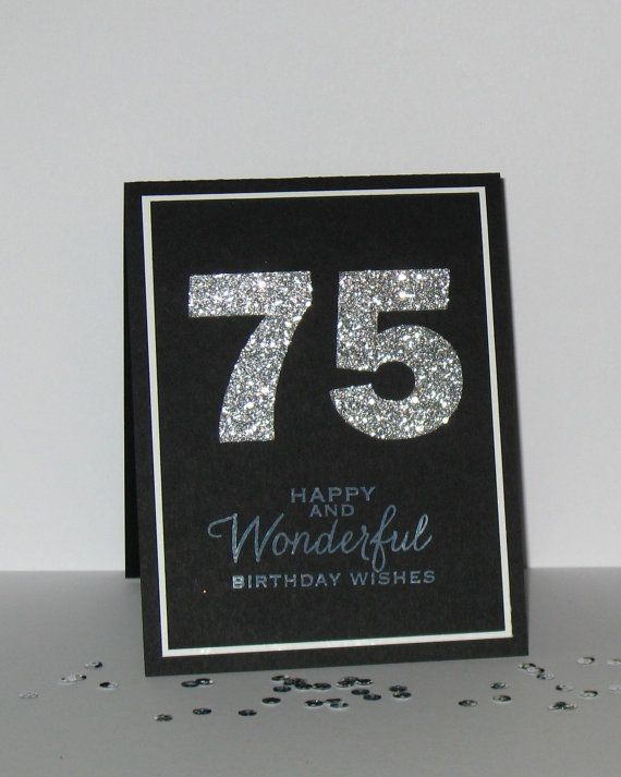 75th Birthday Card Any Age Milestone By GlitterInkCards 450