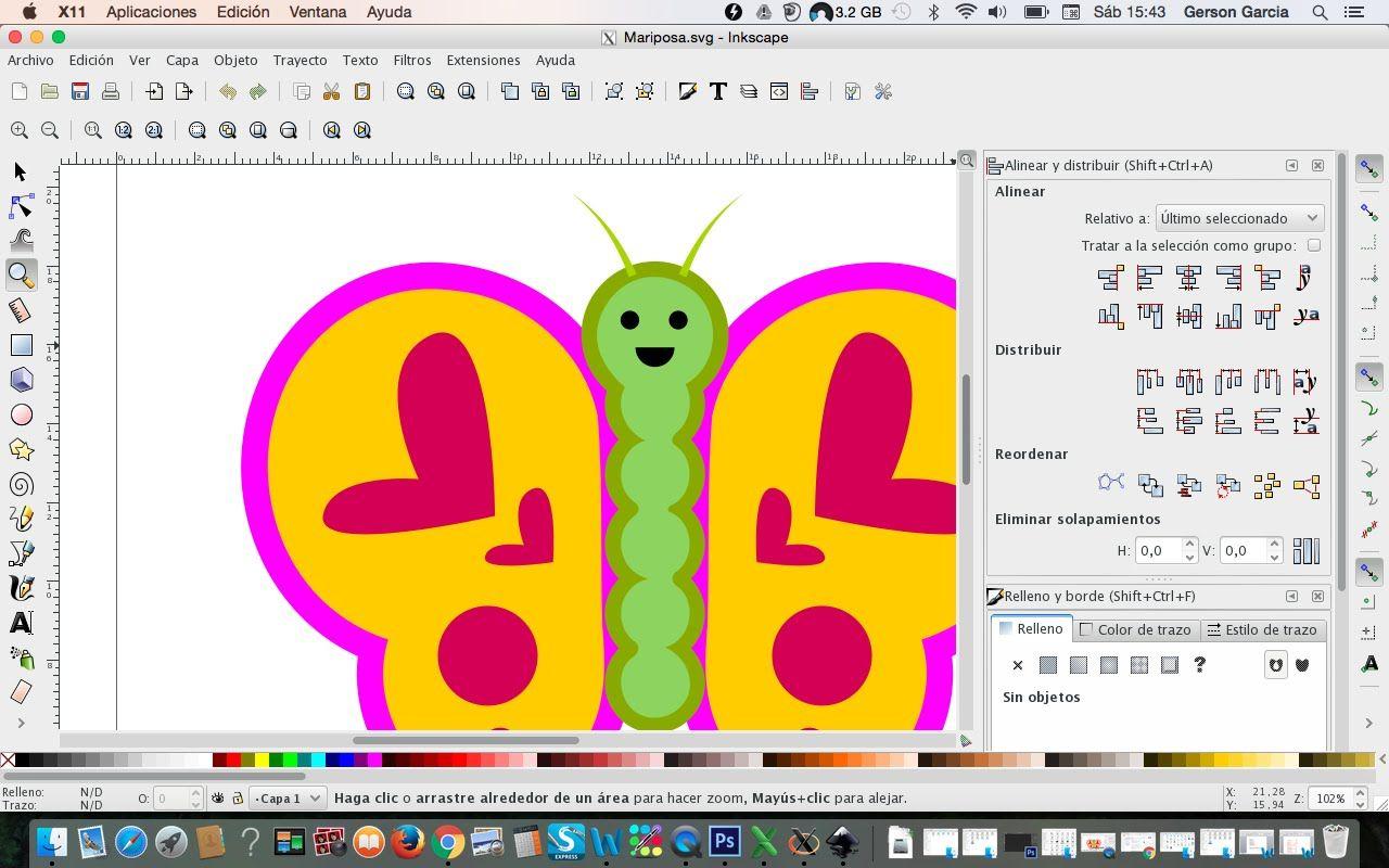 Dibujando Mariposa En La Computadora Con Inkscape
