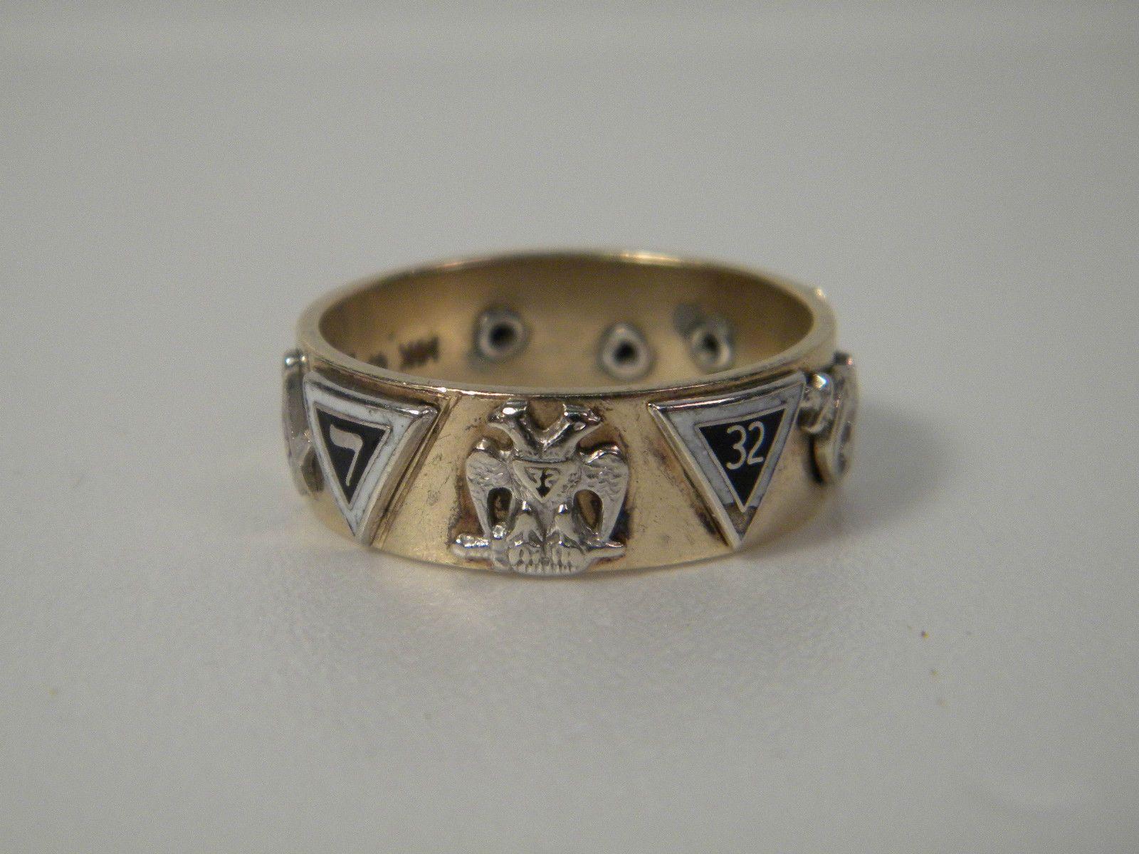 32nd master mason ring york rite 14 kt gold masonic knights templar