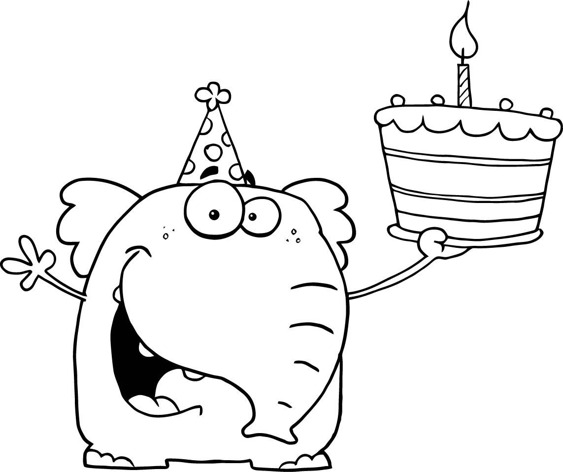 happy birthday cake with baloon on its side coloring page
