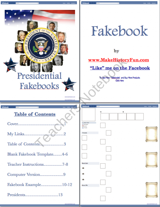 Andrew Jackson Presidential Fakebook Template From Make History Fun Store On TeachersNotebook 13 Pages