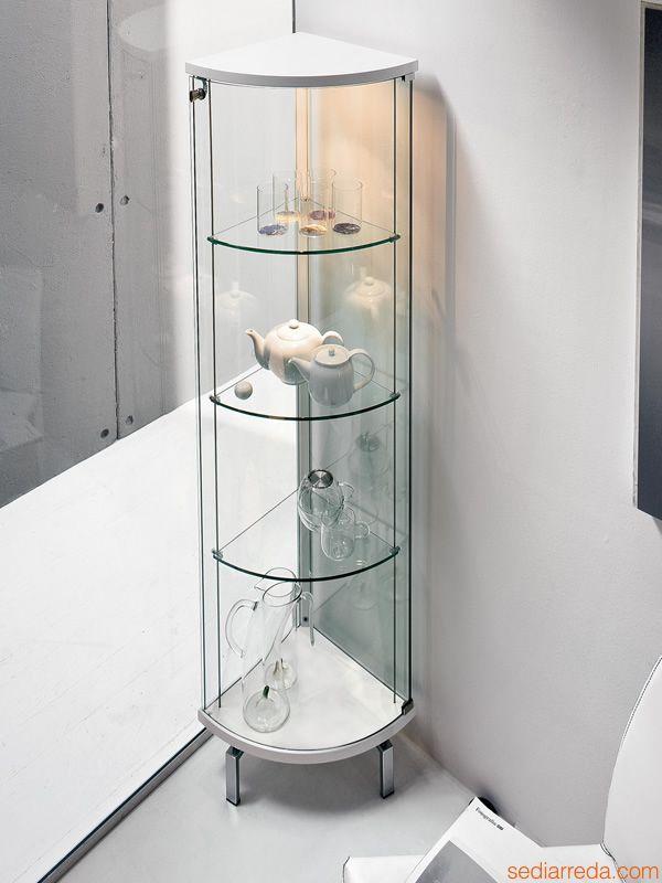 Parella 6429 | Vetrina ad angolo in vetro e legno laccato bianco, con luce LED